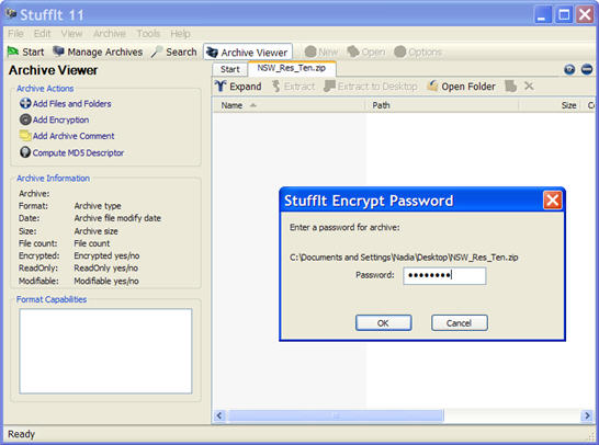 Enter Password when Stuffit opens