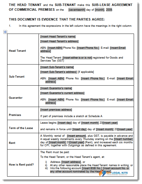 Sublet Agreement Commercial Property Sublet Agreement – Sample Commercial Lease Agreement Template