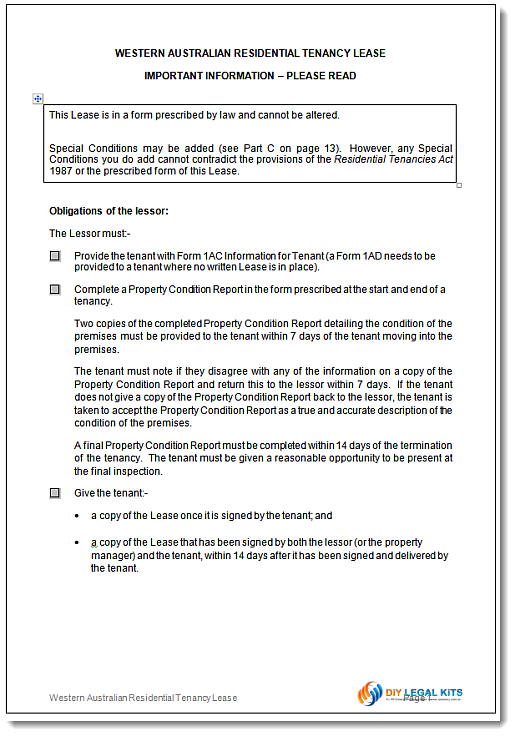 Western Australian Residential Tenancy Agreement WA – Tenancy Agreement Template