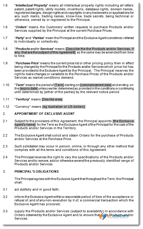 Agency Agents Agreement Sales Agent Contract