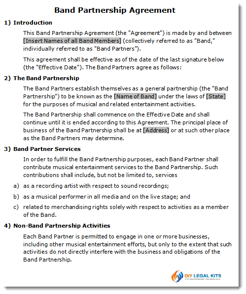 Band partnership agreement contract for Rto partnership agreement template