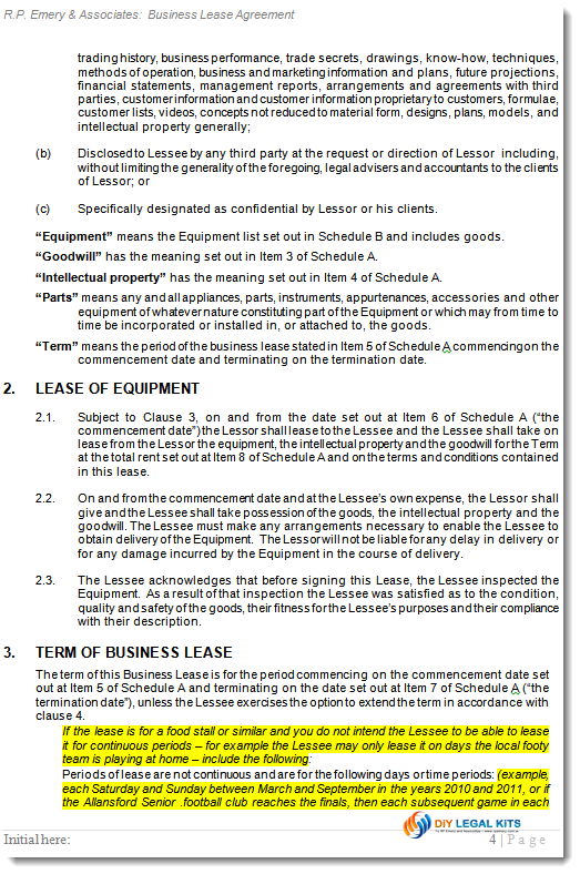 Business Lease Agreement Sample Business Lease Sample 2