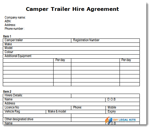 Camper Trailer Rental Hire Agreement Form Contract