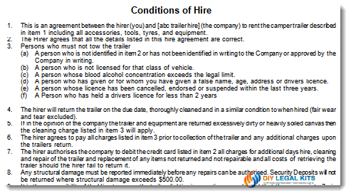 Camper trailer Rental Hire Agreement Form Contract – Trailer Rental Agreement Template