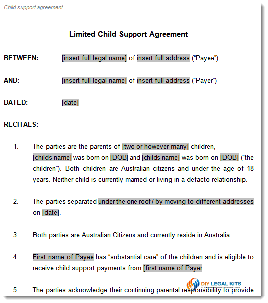Child Support and Parenting Plan Agreement Template – Legal Agreements Between Two Parties