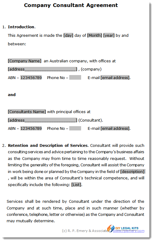 Company Consultants Agreement Consulting services agreement – Consulting Service Agreement