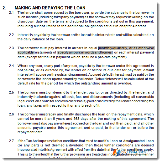 Division 7A Div7a company loan agreement template – Loan Forms Template