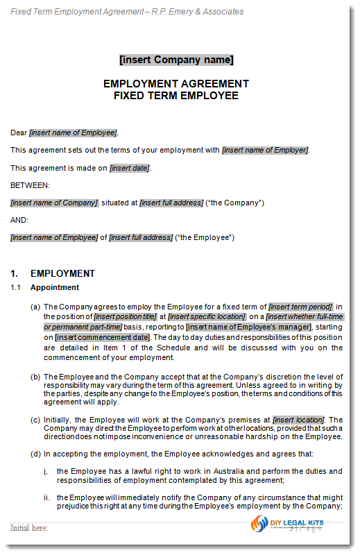 Employment contract fixed term agreement for Permanent contract of employment template
