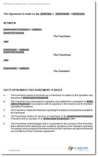 Franshise Agreement Sample
