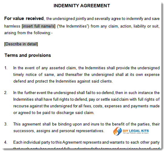 Indemnity Agreement  Indemnity Template