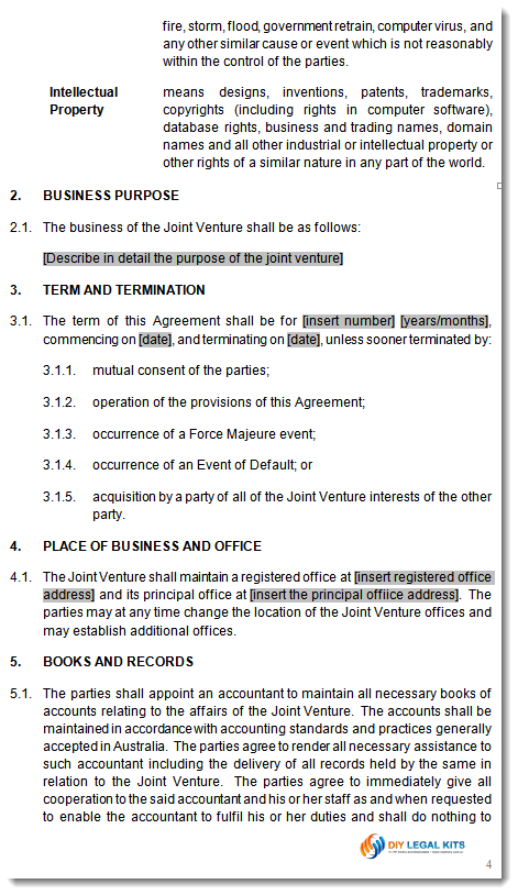 Joint venture agreement template JV contract for business – Sample Joint Venture Agreement
