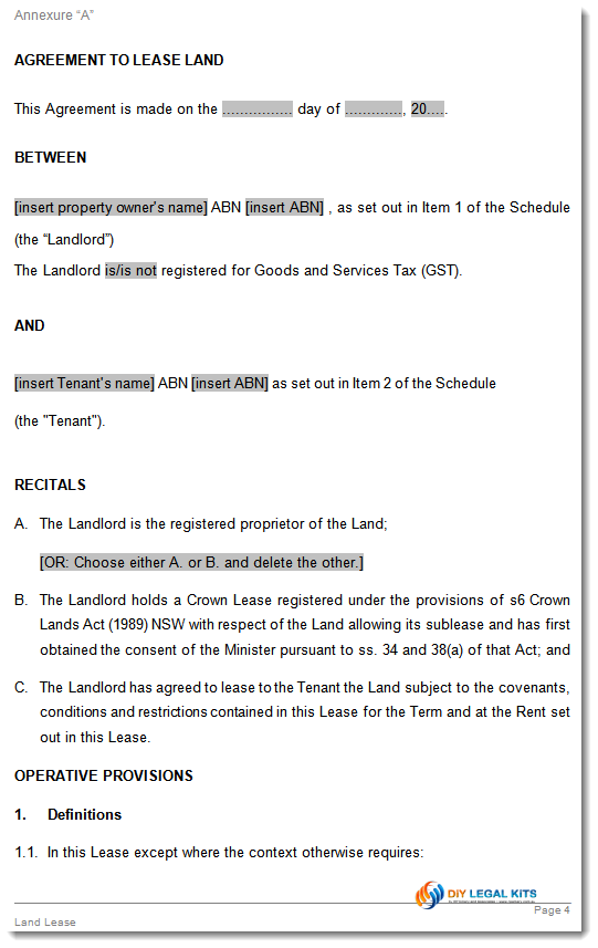 Lease for Agricultural Land Agreement Template – Lease Agreements Sample