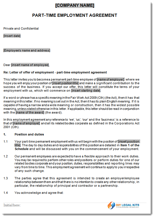 Permanent part time empoyment contract for Permanent contract of employment template