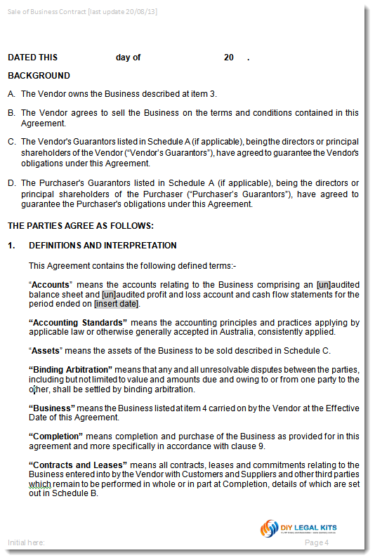 Agreement sale purchase business contract for Selling a business contract template free