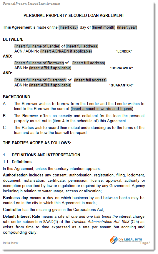 Simple and Secured Loan Agreement Personal Loan Template – Contract of Loan Sample