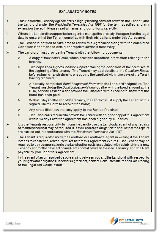 Tasmanian Residential Tenancy Rental Agreement – Landlord Agreement Template