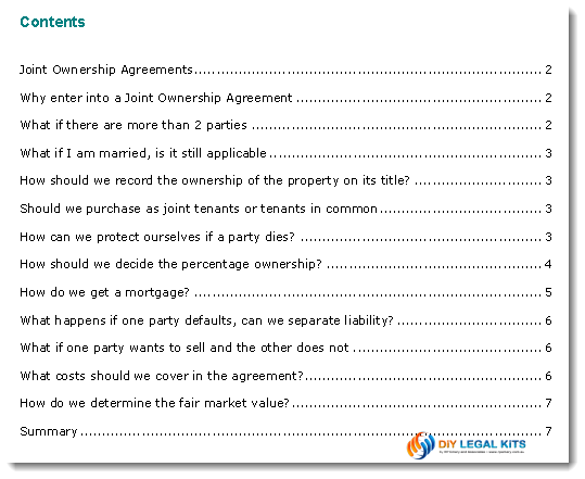 Agreement Between Tenants In Common Joint Ownership