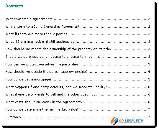 Agreement between tenants in common joint ownership tenants in common sample agreement tenants in common sample 2 contents sample pronofoot35fo Images