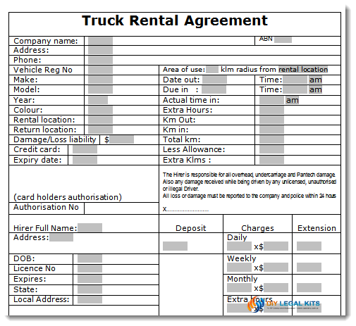 Truck Rental Agreement  Commercial Property Lease Agreement Free Template
